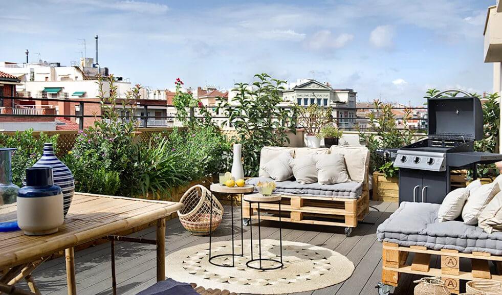 Vườn sân thượng mang phong cách địa trung hải