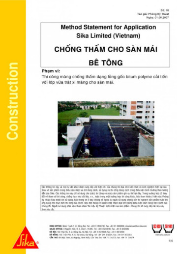 Phương pháp thi công chống thấm sàn mái bê tông