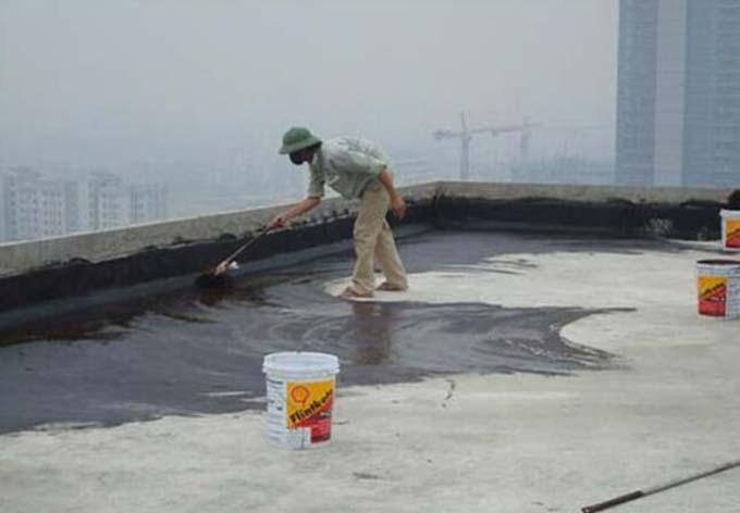 Chống thấm sàn mái bê tông bị nứt bằng nhựa đường