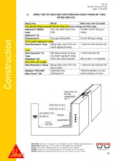 Chống thấm bể bơi bằng Sika PDF
